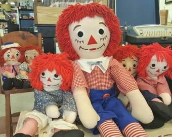 "Vintage 36 1/2"" Large Handmade Raggedy Andy Doll, Raggedy Ann Collectibles"