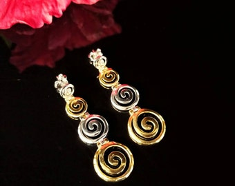 Earrings, greek spiral, golden sterling silver, ancient greek minoan jewelry, grec spirale boucles d'oreilles, griechischen ohrringe