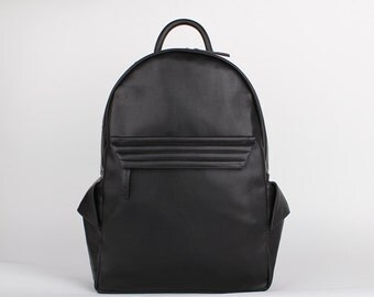 Black vegan leather backpack, stylish faux leather backpack.