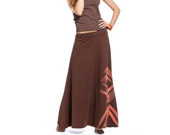 Women's long brown cotton skirt with a pattern, Maxi skirt, Skirt with low waist, Womens maxi skirt, Stylish summer skirt, Cotton maxi skirt