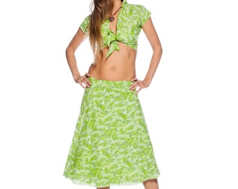 Women's summer dimensionless green cotton midi skirt, Comfortable skirt, Indian skirt, Dimensionless skirt, Casual skirt, Bright skirt