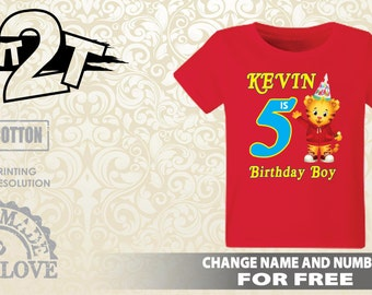 Daniel Tiger Custom T-Shirt, Birthday Daniel Neighborhood, Custom Name and Number 1st 2nd 3rd 4th 5th 6th 7th daniel tiger shirt