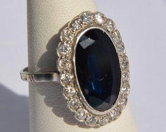 Antique Sapphire 3ct. Platinum and 0, 40ct Diamond Ring antique Platinum sapphire ring •natural a total of 0, 40ct diamonds