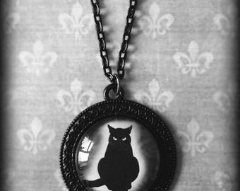 Black Cat Necklace, Gothic Pendant, Witch Wiccan Jewelry, Glass Cameo Pendant, Halloween Jewelry, Gothic Jewelry, Gift For Her, Handmade