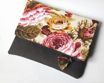 handbag/tote bag with pockets, dark gray and flower pattern
