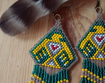 Sacred Eagle Spirit Beaded Earrings Native American Jewelry Inspired Hand Beaded Thunderbird Tribal Hippie Bohemian Southwest Style Tribal