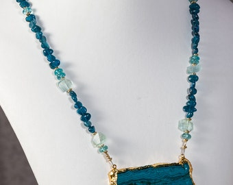 Chrysocolla wide pendant necklace with apatite and aquamarine