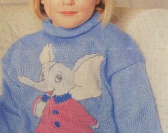 Childrens Sweater PDF Knitting Pattern : Mumfie Elephant Motif . Boys or Girls 22, 24, 26 and 28 inch chest . Jumper . Digital Download