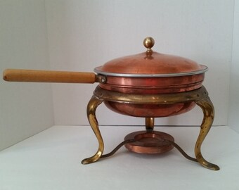 Vintage Copper and Brass Chafing Dish Set