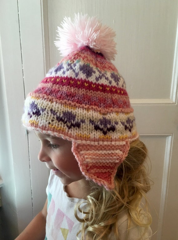 PERSONALIZED GIRLS EARFLAP Hat Fair isle beanie faux fur