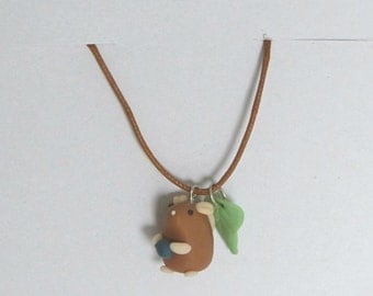 Little brown mouse necklace with blueberry and leaf charm