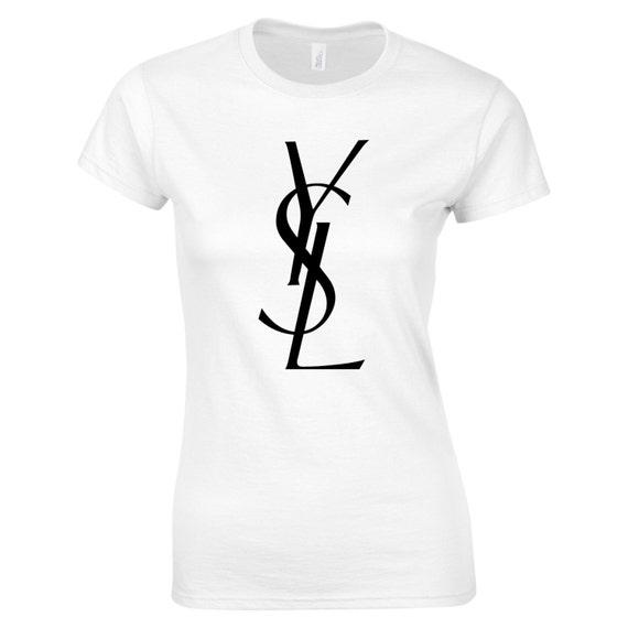 Ysl women 39 s tee inspired logo t shirt gold glitter by tayashop for Ysl logo tee shirt
