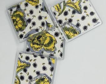 Coasters: 1950s floral dress print