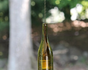 Hanging Wine Bottle Hurricane Lantern Candle Holder - Amber