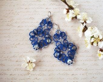 Chandelier earrings Tatted lace earrings Navy blue Statement earrings Tatting jewelry Boho chic Bridesmaid earrings Birthday party Gift