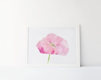 Purple watercolor poppy print, botanical artwork, flower painting