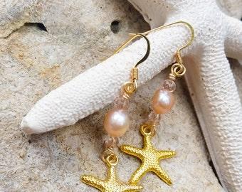 Fresh water pearl starfish earrings, beach wedding jewelry, boho jewelry, boho earrings, bridesmaids earrings