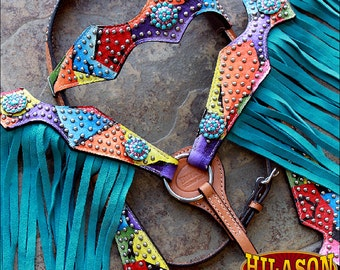 Hilason Leather Headstall Breast Collar Rainbow w/ Conchos and Fringes