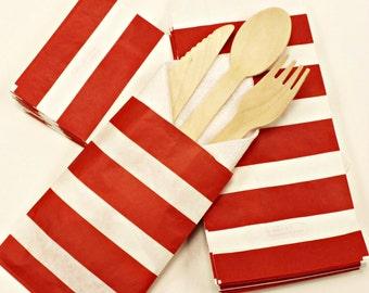 Favor Bags, 20 Red Stripe Silverware Bags, Cutlery Bags, Buffet Bags, Wedding