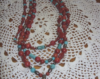 Agate & Turquoise 3-Strand Necklace