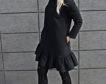 Black ruffle dress - black cotton dress - mini dress - women summer dresses - cotton dress - long sleeves dress - short dress