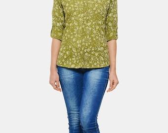 Dabu Hand block printed Shirt in Olive Green colour