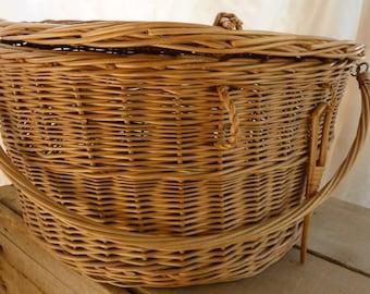 Vintage Round Wicker Picnic Hamper / Crescent Lid Woven Basket