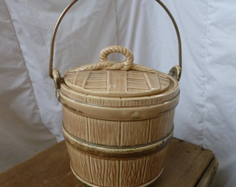 Vintage Ceramic Oak Barrel Cookie Jar