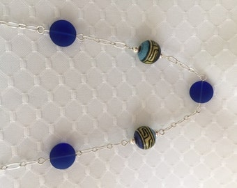 Blue seaglass and ceramic beaded necklace