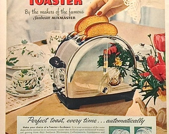 Sunbeam Toaster, Vintage Ad, Breakfast, Toast, Vintage Print, Kitchen Art, Wall Hanging, Advertising, Home Decor, Collectibles