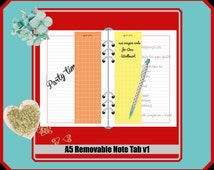 A5 - removable note tab v1 // 1print-1fold-Done // Duplex // double sided