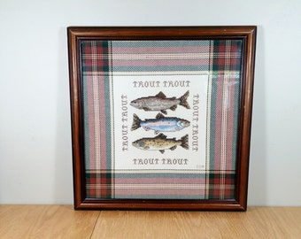 Fish Needlepoint Framed Cross Stitch Trout Man Cave Fisherman Beach Cottage Wall Decor Vintage