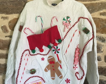 GAP Hand Embellished Christmas Sweater Size M