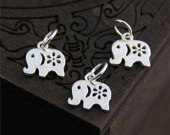 4 Sterling Silver Elephant Charm, Sterling Silver Elephant Pendant,Silver Elephant Jewelry