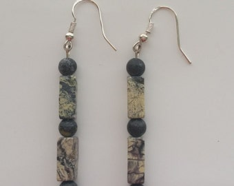 Stone bead earrings with silver wires for pierced ears. 1-1/2 inch total length.