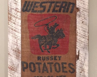 Framed Burlap Potato Sack