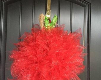 Apple Mesh Door Wreath Decor