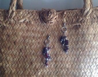 Silver and garnet drop earrings