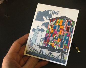 Stained Glass Water Tower in Brooklyn, NY Greeting Card
