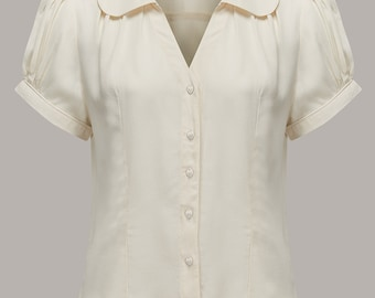 40's Vintage Inspired 'Judy' Blouse in Cream