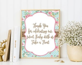 Shabby Chic Printable favor sign, Please take a treat sign, Burlap Printable Sign, Baby shower decorations, SH