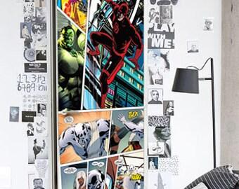 Marvel Door Decal, Door Decal Marvel, Door Mural, Front Door Mural, Front Door Decal, Vinyl Door Stickers, Door Sticker, Marvel Door Decor