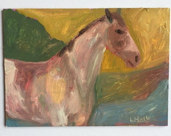 original oil painting 5x7 horse abstract painterly