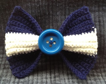 Navy Blue and White Knitted Bow