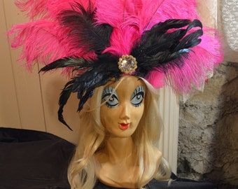Rio Vegas Showgirl Karneval Pink Ostrich Feather Fascinator Headpiece Headdress