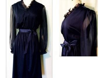 Amy-Deb Ruffled Navy Blue 70s Dress