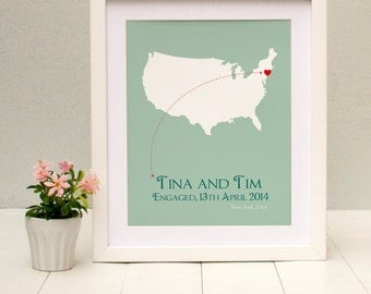 Engaged In New York Personalised Print