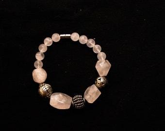 Pink Quartz and Bali Silver Bracelet