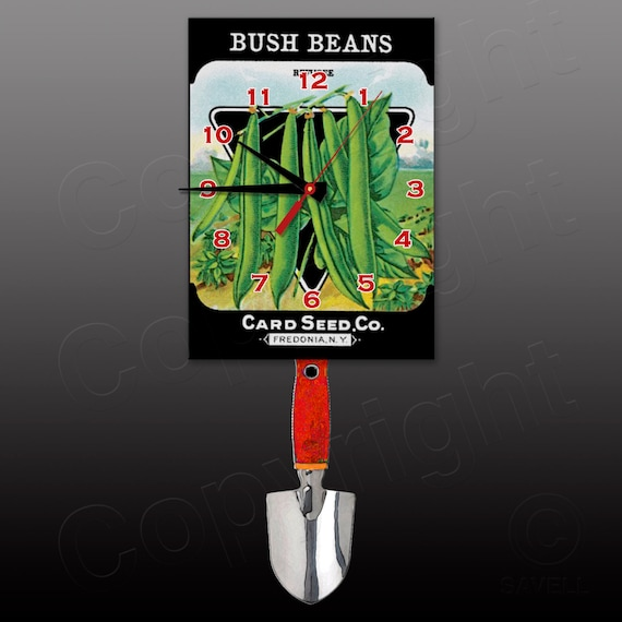 Bush Beans Seed Package Clock with Swinging Trowel Pendulum • Gardener's Clock