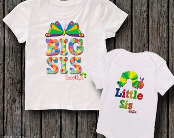 Personalized Big Sister or brother and Little Sister or brother Butterfly caterpillar shirt-Custom matching Sibling tshirt Outfits gifts